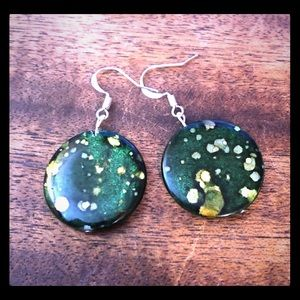 Green Yellow mother of pearl earrings
